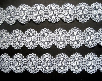 "Embroidered Sheer Lace Galloon, White, 1 1/2"", 1 Yard, For Bridal, Dolls, Apparel, Gifts, Accessories, Scrapbook, Decor, Mixed Media"