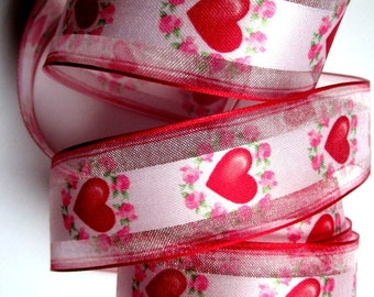 Sheer Wired Romantic Heart Ribbon, Muti, 1 1/2 inch wide, 1 yard, For Gift Packing, Wreaths, Center Pieces, Home Decor, Romantic Crafts.