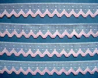 """Fringe Lace Trim, Pink / White, 1"""" inch wide, 1 yard, For Scrapbook, Mixed Media, Accessories, Gift Baskets, Romantic Crafts"""