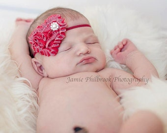Valentines Day Red Heart Baby Flower Headband, Newborn Headband, Baby Girl Flower Headband, Photography Prop