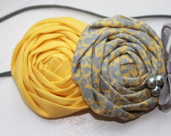 Yellow and Gray Rosette Baby Flower Headband, Newborn Headband, Baby Girl Flower Headband, Photography Prop