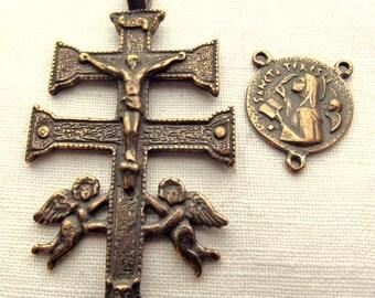 Bronze St. Teresa of Avila & Caravaca Crucifix Rosary Set