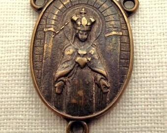 Bronze Crowned Queen of Heaven & Sacred Heart Centerpiece