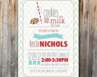 Milk and Cookies Baby Shower Invitation, Printable, Digital File, Baby Boy, Chevron, 5x7