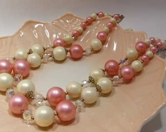 Pink and White Bead Two Strand Necklace with Aurora Borealis Beads Interspersed