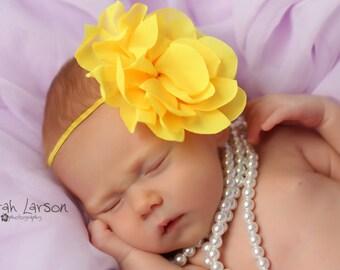 baby girl headband..yellow headband..newborn headband