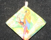 Tropical parrot fused glass dichroic pendant 50% off Clearance Sale
