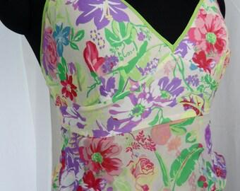 90s ETRO floral silk strappy sundress multiple chiffon flounces: Italy size 40/ US 4-6