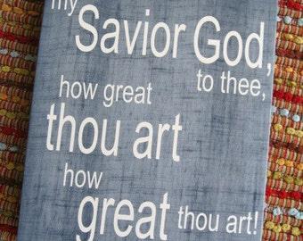 How Great Thou Art, 12x15, Canvas, Denim