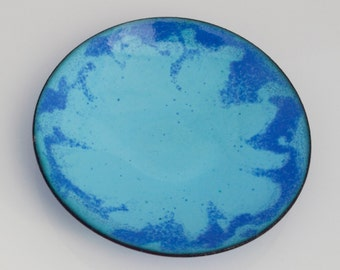 Small blue enamelled dish