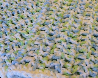 Plush Baby Blanket with Chenille feel Handmade in USA