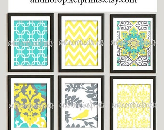 Digital Print Wall Art Yellow Turquoise Grey Vintage / Modern inspired Wall Art -Set of 6 - 8x10 Prints -   (UNFRAMED)