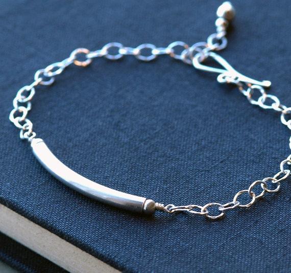 Sterling Silver Bracelet Chain Bracelet, Minimal Everyday Bracelet, Personalized Bracelet, Bar Bracelet, Charm Bracelet, Bridesmaid Gifts