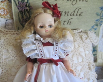 Sweet Effanbee 1966 Doll In Red Dress and Bow ) / S /  :)