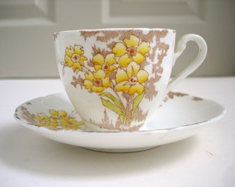 Vintage China Tea Cup - Yellow Floral Tea Cup