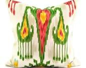 Robert Allen Khandar Jewel Fabric Pillow- Green Yellow Beige and Blue - 18x18, 20x20, 22x22