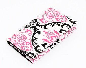 Womens card wallet, business card holder, small wallet, little card case - candy pink damask