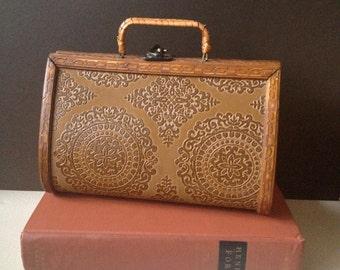 Vtg 60s / 70s Wooden Box Purse