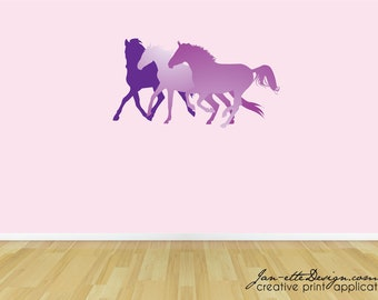 Girls Wall Decal,Horses Fabric Wall Decal,Removable and Repositionable Fabric Wall Clings