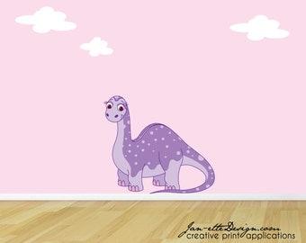 Girl Dinosaur Fabric Wall Decal, Purple Dinosaur Wall Sticker, Dinosaur Wall Art