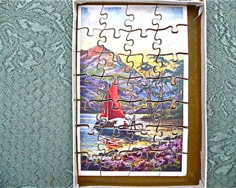 Vintage Jigsaw Puzzle in Original Box, Made in England - Jigsaw Puzzle, Wooden, Bournemouth, 1950s - Sailing Boat Jigsaw, 1950s