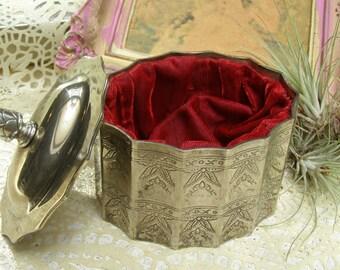 Godinger Jewelry Box, Etched Silver Plated Box, Vintage Keepsake / Trinket Box, Vanity Accessory, Red Velvet Lining