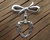 Vintage Bow Brooch, Silver Tone with Dangle Heart.  Nice Condition