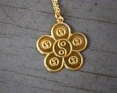 3 VTG 90s Brass YIng Yang Flower Pendents