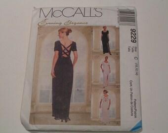 McCalls Pattern 9229 Evening Elegance Miss Dress