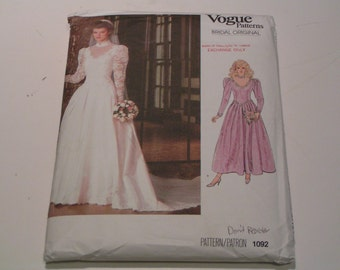 Vintage Vogue Pattern Bridal Original 1092 Miss Bridal Dress Petticoat