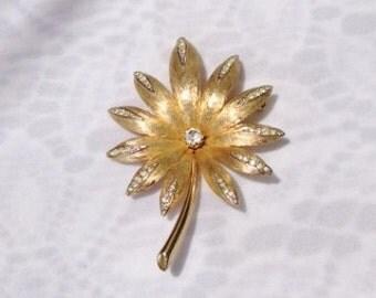 SALE Vintage Goldtone Floral Brooch Embellished with Clear Rhinestones