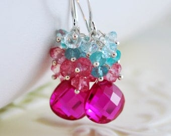 Bright Wedding Earrings, Hot Pink Quartz Apatite Blue Topaz Cluster, Sterling Silver Gemstone Jewelry - Summer Bouquet - Free Shipping
