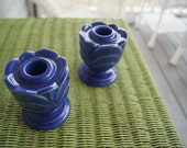 For RITA only  blue candle holders 1930s Caliente marked USA perfect condition Must SEE vintage retro old antique