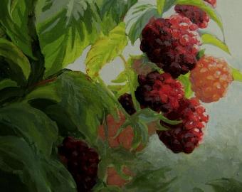 Razzleberries - Original berry garden painting