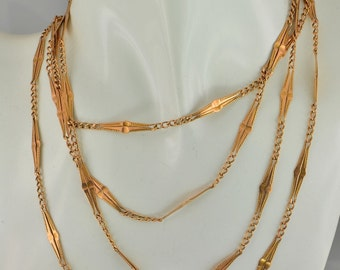 Victorian fancy links long guard chain solid rose gold genuine 1880 ca
