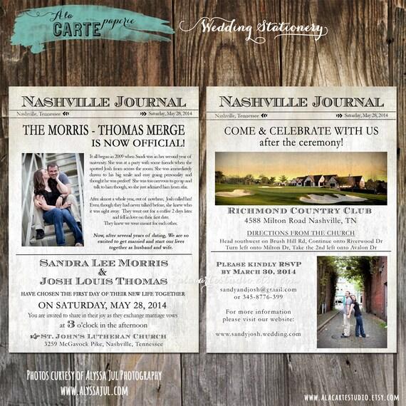 Items Similar To Wedding Invitation Newspaper Inspired