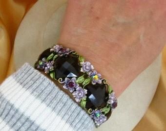 Floral Rhinestone Bracelet