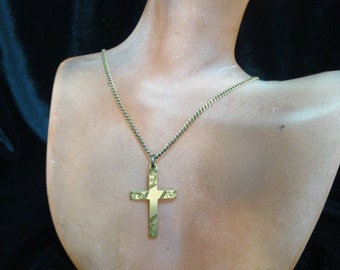 Vintage Goldtone Cross Necklace