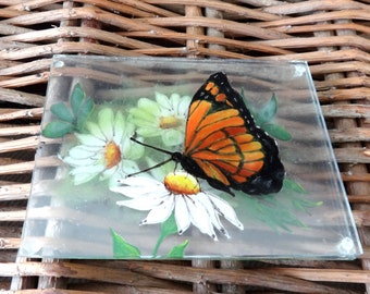 Woodland Art- Reverse Painted Butterfly and Daisies- Hand Painted Monarch Butterfly