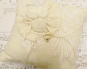 Cream Ivory and White Bridal Lace Ring Bearer Pillow with Cream Bow 940