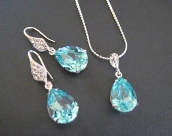 Bridesmaid Jewelry/ Light Turquoise Swarovski Crystal Jewelry Set/ Bridal Jewelry/ Crystal Earrings/ Custom Bridesmaid Sets/ Wedding Jewelry