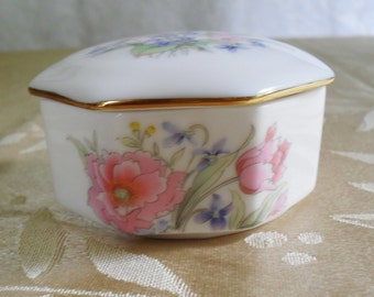 Vintage fine China Box  Octagonal Shape and Floral Design