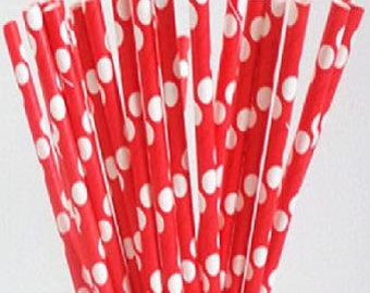 Red with White Polka Dot Paper Straws