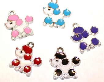 5pcs Poodle Dog Charms / Bracelet Charms / Necklace Charms/Mixed Colors/19x17.5mm
