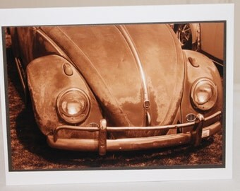 photo card, classic VW, sepia, photograph, volkswagen