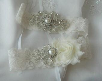 BEST SELLER Wedding Garter Set, Bridal Garter, Ivory Lace Garter,  Lace Garter Set, Ivory Garter Set, Shabby Chiffon Garter Set