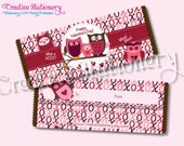 Owl Valentine's Day Candy Bar Wrappers. Printable DIY. Coordinates with Owl Valentine's Day Party Package.