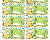 Diaper Raffle Tickets Owl Baby Boy Shower. Yellow, Orange, Green, Blue and Aqua Chevron. Coordinates with Owl Party Package and Invitation.