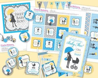 BOY Oh Baby Chic Shower DIY Party Printables Package. Blue, Yellow, Black and White. Party Printables customized just for you.