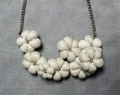 textile/fabric statement flowers necklace in ivory with silver sheen, femenine, hand sewn soft sculpture